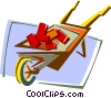 Vector Clipart graphic  of a wheel barrow with bricks