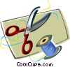 Vector Clip Art image  of a scissors with spool of thread