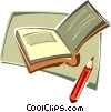book, note book with pencil Vector Clipart illustration