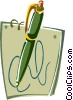 Vector Clip Art image  of a pen and paper