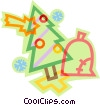 Vector Clipart graphic  of a Christmas tree with bell