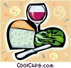 Vector Clipart illustration  of a wine and cheese