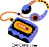 Vector Clipart graphic  of an audio cassette player