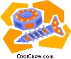 Vector Clip Art graphic  of a screw with nut