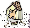 Vector Clip Art graphic  of a dog house with dog