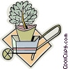 wheelbarrow, plant Vector Clipart picture