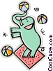 elephant, circus act Vector Clip Art picture