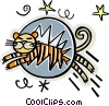 tiger jumping through hoop Vector Clip Art picture