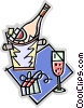 Vector Clip Art picture  of a champagne in ice bucket