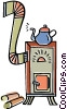 Vector Clip Art graphic  of a wood stove