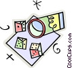 cup and dice Vector Clip Art image