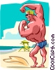 Muscle man on the beach Vector Clipart picture