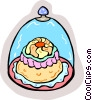 Vector Clipart graphic  of a Cake under glass