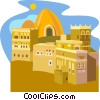 Vector Clip Art graphic  of a Clay house, Yemen - Rawdah