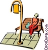 Vector Clipart image  of a sitting on bench waiting for the bus