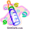 Vector Clipart image  of a baby's bottle with sleeper