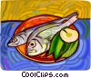 Fish on a plate with lemon Vector Clipart illustration