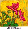 Flowers with colorful background Vector Clipart image
