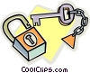 Vector Clipart illustration  of a lock and key