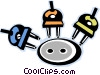 Vector Clip Art image  of a electrical plugs