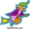 witch on a broomstick Vector Clip Art picture