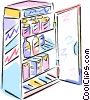 Vector Clip Art graphic  of a Refrigerator full of food