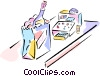 Vector Clip Art graphic  of a groceries and cash register