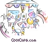 outdoor restaurant scene Vector Clip Art graphic