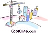 Vector Clip Art graphic  of a building crane with buildings