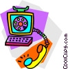 computer telephone concept Vector Clip Art image