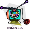 Vector Clip Art image  of a Internet knitting concept