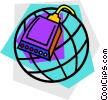 Vector Clipart illustration  of a modem with globe design