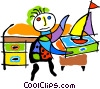 Vector Clip Art graphic  of a boy at desk with toy sailboat