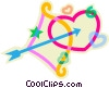 Valentine heart with bow and arrow Vector Clip Art picture