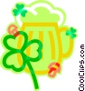 Vector Clip Art image  of a St. Patrick's Day beer with shamrock