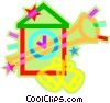 Vector Clip Art graphic  of a holiday bells with horn and