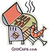 Vector Clip Art graphic  of a bbq with sausage cooking