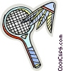 Badminton racket and birdie Vector Clip Art graphic