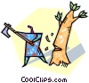 Vector Clipart image  of a chopping down a tree