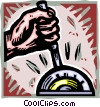 Vector Clip Art image  of a hand controlling a machine