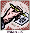 Vector Clip Art graphic  of a hand writing with pen