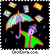 Vector Clip Art image  of a man with umbrella and envelopes