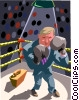 Vector Clip Art graphic  of a Businessman boxing