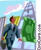 man hooked by the almighty dollar Vector Clip Art graphic
