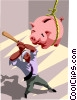 Vector Clip Art image  of a man batting a piggy bank
