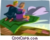 Vector Clip Art image  of a magic carpet ride