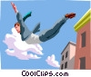Vector Clip Art graphic  of a businessman leaping off of a