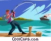 Vector Clipart image  of a businessman fishing