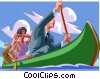 Business people in a canoe Vector Clip Art image