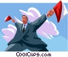 Businessman directing traffic Vector Clipart illustration